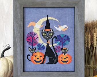 Halloween Cat - black cat witch - Satsuma Street cross stitch pattern PDF - Instant download