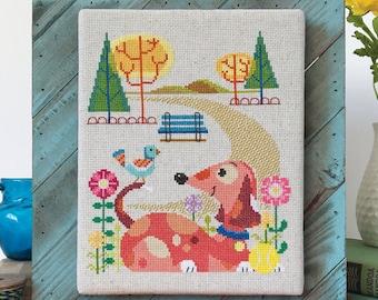 Dog Park - Satsuma Street modern cross stitch pattern PDF - Instant download