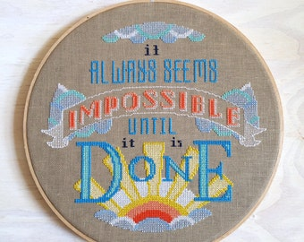 Impossible - Nelson Mandela quote - Satsuma Street Cross stitch pattern PDF - Instant download