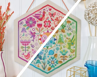 Garden Party Deal (both color ways) - Satsuma Street - modern cross stitch pattern - Instant download PDF