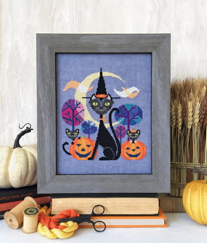 Halloween Cat  black cat witch  Satsuma Street cross stitch image 0