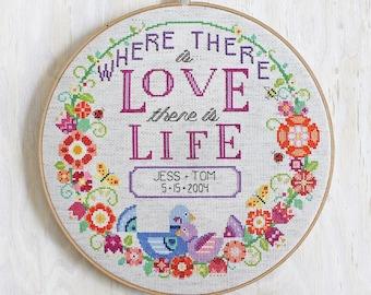 Love + Life - Satsuma Street modern cross stitch wedding pattern or baby announcement - Customizable - PDF - Instant download