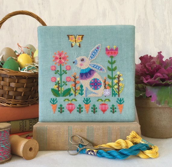 Sweet Spring - Easter Bunny Rabbit - Satsuma Street modern cross stitch pattern PDF - Instant download