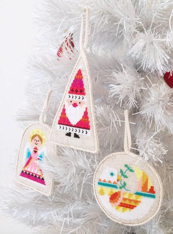 Etsy Christmas Ornaments.Christmas Ornaments Set Of Six Satsuma Street Modern Cross Stitch Pattern Pdf Instant Download