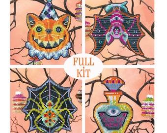 KIT - Halloween Ornament Set 2019 - Satsuma Street - four cross stitch kits