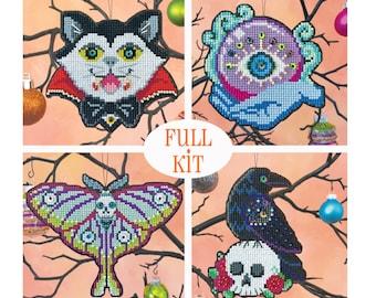 KIT - Halloween Ornament Set 2020 - Satsuma Street - four cross stitch kits