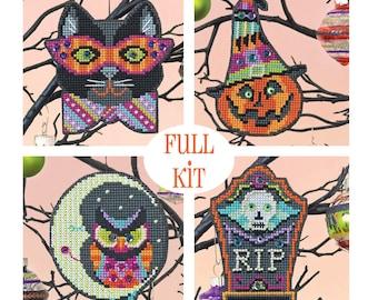 KIT - Halloween Ornament Set - Satsuma Street - four cross stitch kits