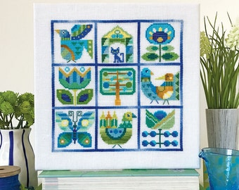 Primavera - printed version - Satsuma Street modern folk cross stitch pattern