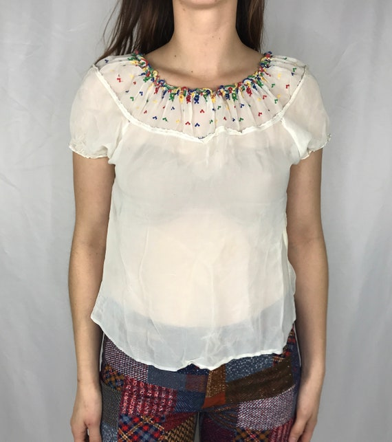 Vintage 1930s Hungarian Blouse Hand Embroidered Wo