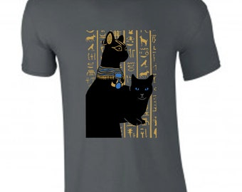 cdecc9602 Original design Egyptian cat t-shirt, for him or her. Screen printed.  Limited edition. Cat lover t shirt, christmas gift, spirit animal