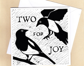 Linocut greetings card.  Hand printed unusual card for wedding, engagement card, anniversary or twin baby card