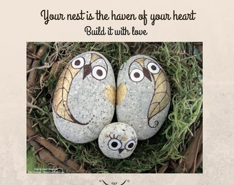 Baby Blessing or Mother's Day – Give a Nesting Family of Stone Owls