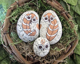 A Gift for the New Parents – Nesting Family of Stone Owls