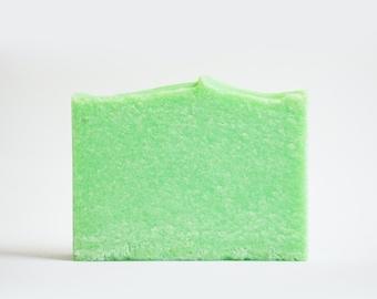 Green Apple Sea Salt Soap | Palm Free Salt Bar, Spa Scented Soap, Vegan Homemade Cold Process Soap, Handmade Soap Gift, Handcrafted Soap