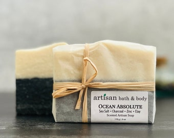 Sea Salt and Charcoal Artisan Bath & Body Ocean Absolute Soap   No Palm Face and Body Exfoliating Wash Bar   Home Spa Gift   Beach Air Scent