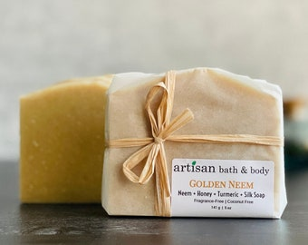 Honey + Turmeric + Silk Artisan Bath & Body Golden Neem Soap Bar For Face and Body Acne Prone or Problematic Skin   No Fragrance, No Coconut