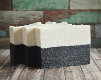 Sea Salt + Activated Bamboo Charcoal Soap | Ocean Absolute Soap | Handmade Vegan Palm Free Salt Bar, Artisan Homemade Cold Process Spa Soap