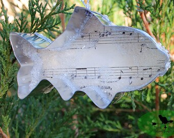 Shimmery Fish Ornaments with Vintage Sheet Music, Coastal Christmas Ornaments, Silver Cookie Cutter Beach Ornament Trio