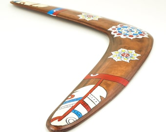 """Boomerang """"Lucky Feather""""   Wooden boomerang   Returning Boomerang   Handcrafted, hand painted, flight-tested   Boomerangs for sale"""