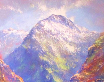 Mountain Painting ORIGINAL OIL PAINTING on Canvas New Zealand Landscape Painting New Zealand Decor Art, Original Art by Walperion