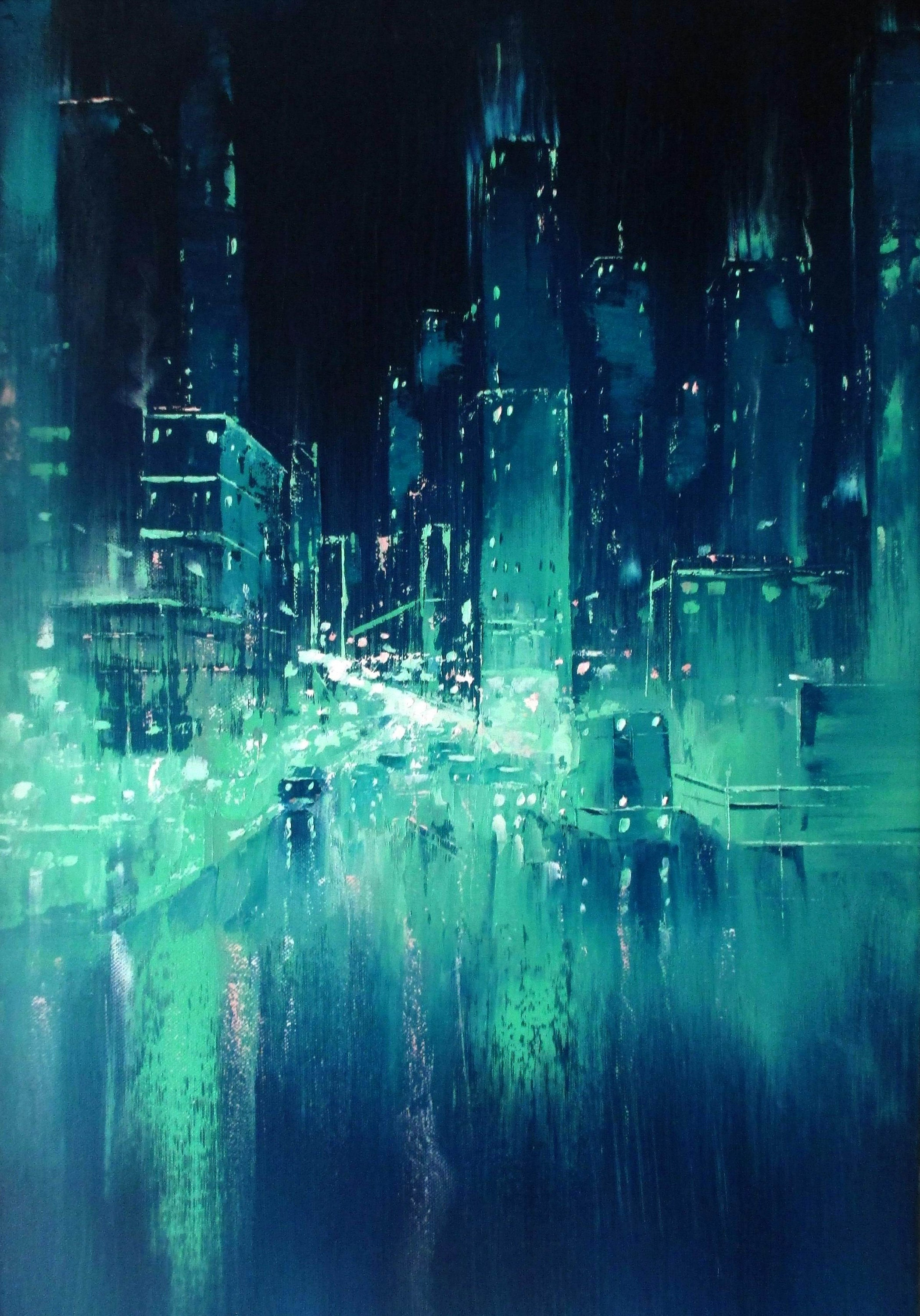 Oil Painting Original Painting on Canvas / Cyberpunk Synthwave Vaporwave  Art, Turquoise Palette Knife Art /