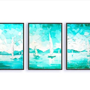 Paintings on Canvas Triptych Set of 3 Small Oil Paintings Framed Impasto Painting Sailboat Painting Seascape Painting Original by Walperion