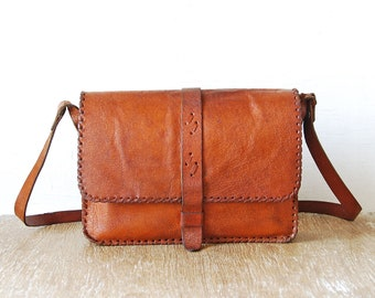 Old Leather Purse Handbag, Light Brown Vintage Bag, Leather Vintage Shoulder Hippie Bag, Retro Woman Purse