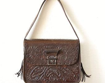 Handmade Tooled Leather Vintage Bag, Brown Leather Woman Purse, 70s Hippie Shoulder Handbag