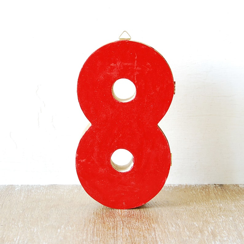 Wall Hanging Number Eight Vintage Wooden Number Eight Drawer Red Wood Wall Number