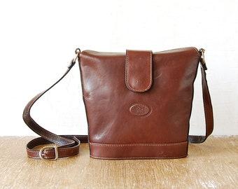Vintage Brown Leather Shoulder Bag, L'Artigano Leather Purse, Cross Body Shoulder Bag, Brown Leather Women Pouch