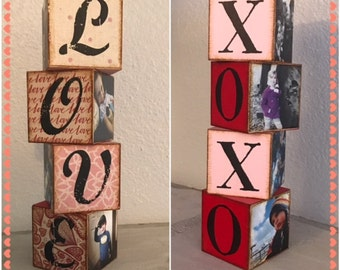 LOVE and XOXO personalized blocks reversible