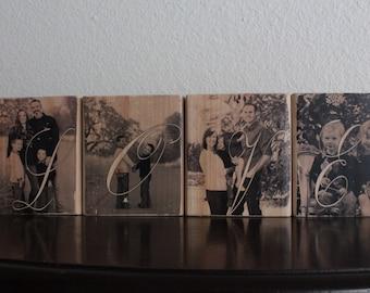 LOVE Wood Photo Blocks Personalized