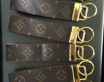 9d7a227cbce Key Fob brass finished hardware wristlet key chain made gold LV of Louis  Vuitton canvas  GOLD LONG 2