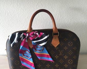 Silk Twilly Scarf Twill Handbag bandeau bandeaux Handle Wrap Purse Scarves Hair Bow Ribbon #28