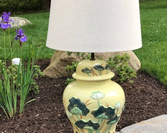 Vintage CHAPMAN table lamp - signed - Butter yellow Ginger Jar form w/ WATER LILIES / Nymphaea detail -