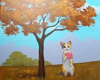 ORIGINAL PAINTING Donut Cat Under The Tree Cat Art