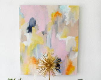 Nina 20x24in Original Abstract Acrylic Painting, pink painting, pink abstract, yellow painting