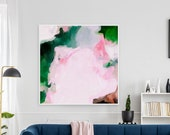 Jolie, Pink abstract art, green abstract art, prints wall art, large wall art, extra large wall art, pink abstract