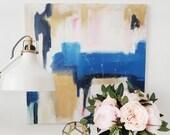Tara Original Abstract Acrylic Painting, 20x20 square abstract canvas art, gold blue, pink