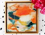 Marianna, abstract painting, original painting, original art, orange abstract, square art