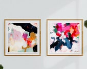 Set of 2 Large Giclee Abstract Print, Square art pairs, wall art, pink abstract, blue abstract, Ruthie and Essi