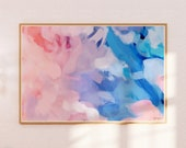 Amara- large pink and blue wall art - pink blue abstract art print - 15x10-60x40