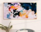 Elise, Abstract art print, bedroom wall art, living wall art,pink abstract, art print, blue abstract, panoramic, extra long art,
