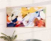 Primaria, Abstract art print, bedroom wall art, living wall art, blue abstract, art print, bright abstract, panoramic, extra long art,