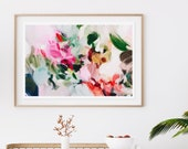 Bloom, Large Giclee Abstract Print, 15x10-60x40 pink abstract, green abstract, bright wall art, colorful art print
