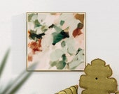 Dionne- soft wall art - serene abstract - forest soft green - calm wall art - mint green - square  wall art