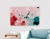 Tulip - Teal and pink- Turquoise - bright mulitcolor art - extra large - vibrant art - contemporary art - abstract wall art - colorful print