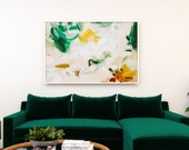 Shay, 40x60 yellow and green abstract art print, large art print, neutral abstract, serene, fine art paper limited edition, 1 of 3