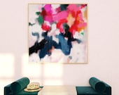 Essi, 12x12-36x36in, Abstract Fine Art Print, abstract print, blue abstract, pink abstract, large wall art