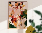 The Grove- large earthy wall art - neutral abstract art print - boho wall art- pink and green abstract - 15x10-60x40